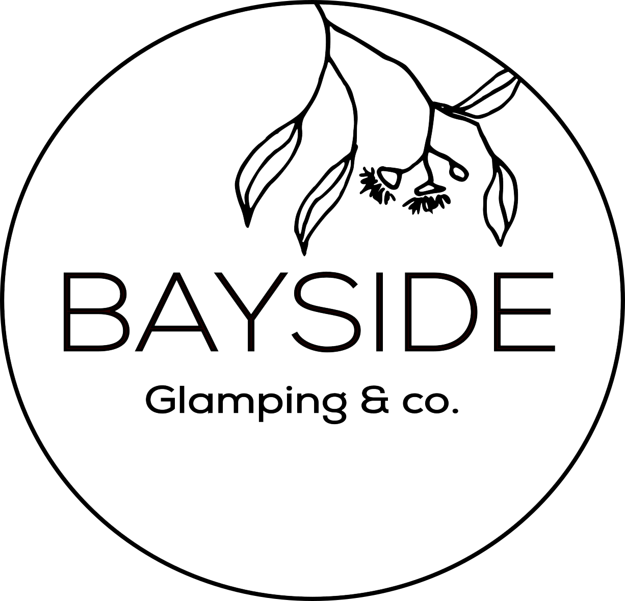 Bayside glamping logo black and white - transparent